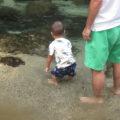 澄み切った水を前に足を漬けたり、触ったり、思わず水遊びしたくなります。