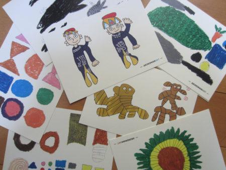 沖縄教育出版で働く障がい者が描いたイラスト入りの便せんやハガキ