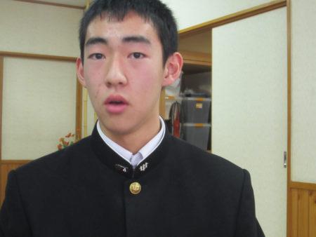 坂元中学校2年生 松元一真くん