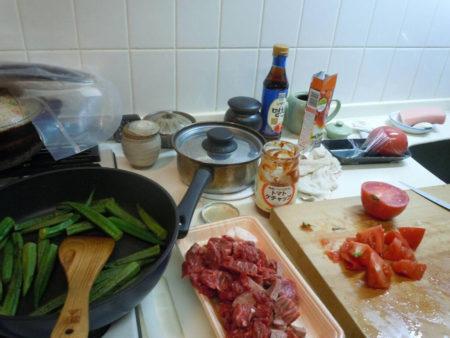 この日は牛肉とオクラとトマトのスパイス(コリアンダー)煮込み。西アジアから北アフリカ地域の代表的なシチューとか。