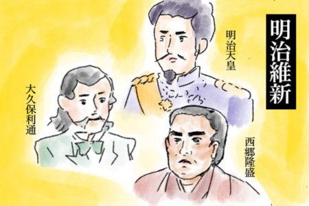 新政府の中心には、西郷さんや大久保さんの姿がありました。