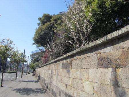 石垣の向こうが旧玉里邸。鹿児島女子高校の校庭の一部となっています