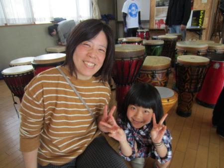長島町から親子で参加した大迫香寿枝さん