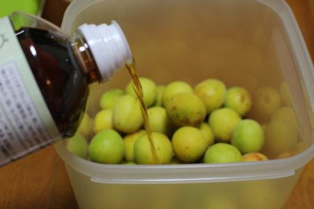 梅を殺菌した保存容器に入れ、そこに、薄口しょう油を注ぎ入れます。