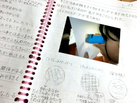 紙をマイクロスコープで観察したりしながら、なぜしみ込み方に違いがあるのか調べました。