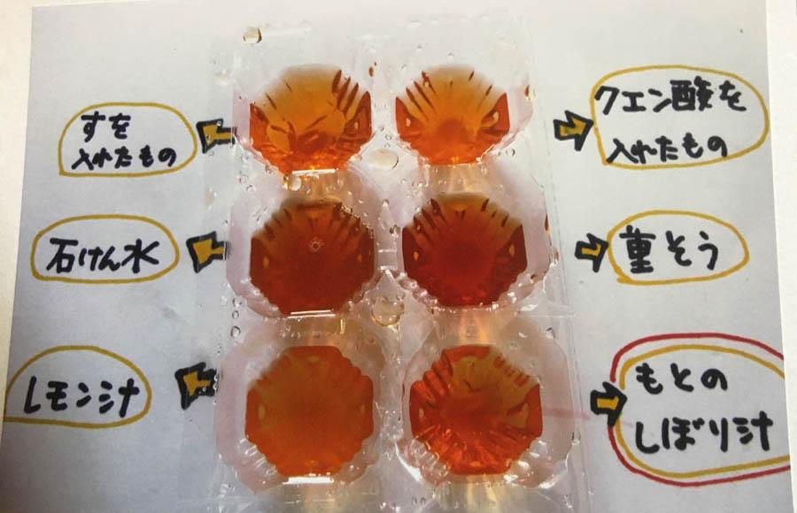 たまねぎの場合・・もとのしぼり汁は透き通ったオレンジ色