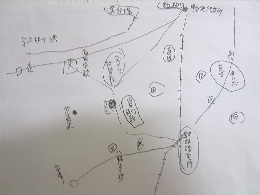 小松さんが描いた当時の鴨池町周辺の地図