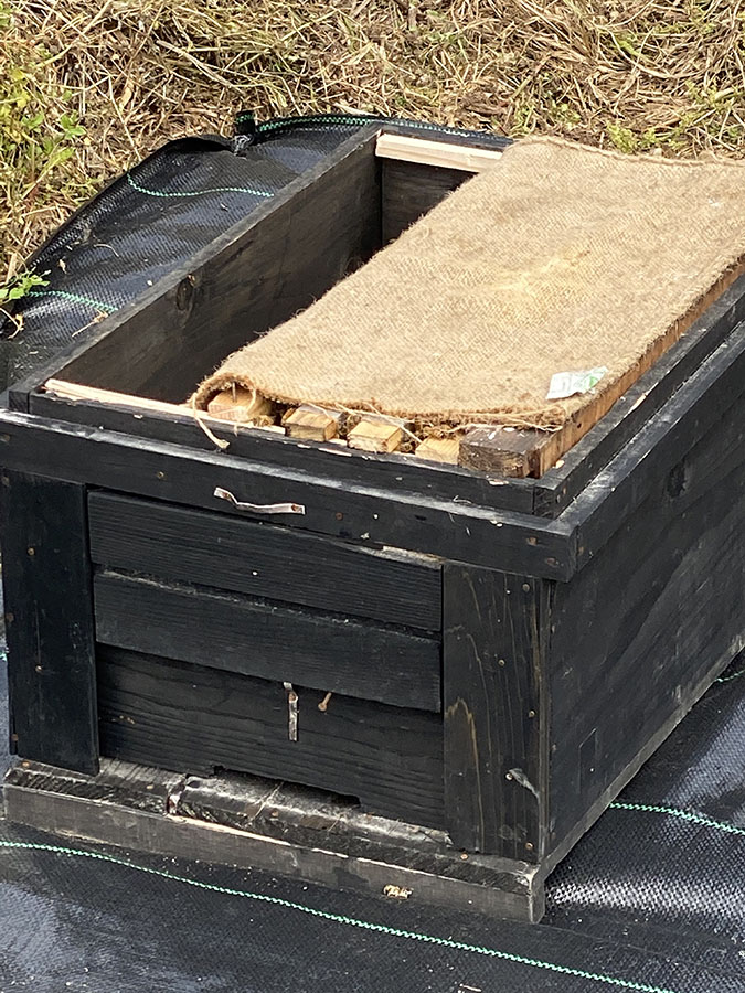 巣箱のふたを開けたところ ゆっくり巣枠を増やしていきます