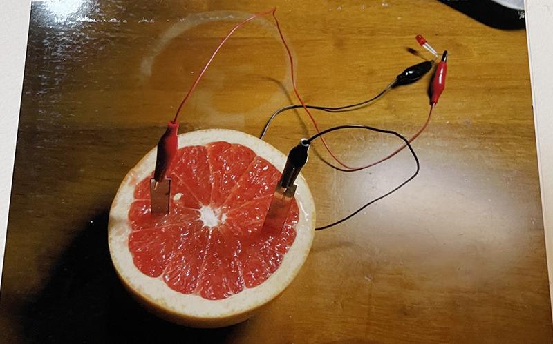 グレープフルーツ1個、2個の場合・・LEDはつかなかった。