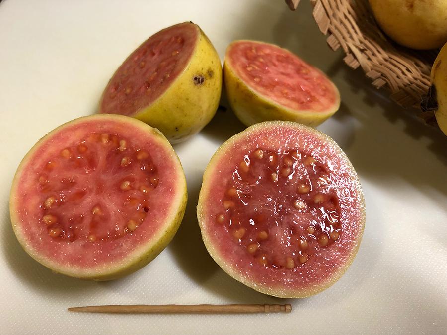 果実を切ってみますと、こんな感じ。果肉は赤色で、ゴマのような種がたくさんあります。